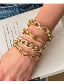 Fashion Golden Four-piece Geometric Multi-layer Chain Bracelet