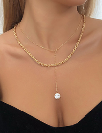 Fashion Golden Double Pearl Necklace