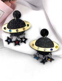 Fashion Saturn Color Crystal Planet Universe Pentagram Earrings
