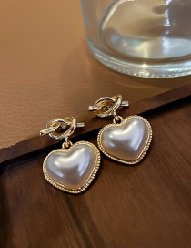 Fashion Silver Color Needle Gold Color Love Pearl Earrings