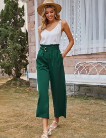 Fashion Army Green High-waisted Trousers Straight-leg Pants