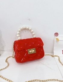 Fashion Red Childrens Jelly Color Rubber Pearl Portable Shoulder Bag