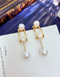 Fashion Gold Color Pearl Back Hanging Earrings