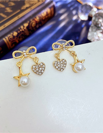 Fashion Gold Color Bowknot Peach Heart And Star Stud Earrings