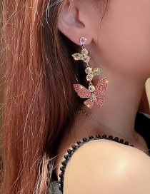 Fashion Silver Color Needle Gold Color Diamond Butterfly Earrings