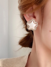 Fashion Silver Color Needle Gold Style One Pearl Pentagram Diamond Flower Earrings