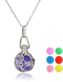 Fashion Big Circle + 6 Color Balls Hollow Spiral Ring Aromatherapy Necklace