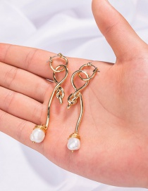 Fashion Gold Color Shaped Knotted Pearl Earrings