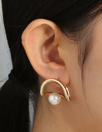 Fashion Gold Color Metal Hollow Heart Pearl Earrings