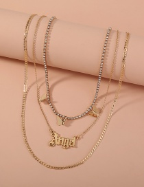 Fashion Gold Color Butterfly Letter Angel Multilayer Necklace