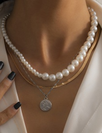 Fashion Gold Color Special-shaped Imitation Pearl Geometric Embossed Medallion Necklace