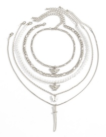 Fashion Silver Color Butterfly Imitation Pearl Angel Necklace