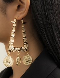 Fashion Gold Color Geometric Portrait Earrings With Bamboo Rivets