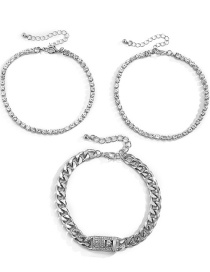 Fashion Silver Color Multi-layer Micro-inlaid Anklet Set