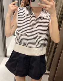 Fashion Black And White Stripes Striped Knitted Lapel Sweater Vest
