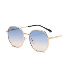 Fashion Top Blue And Bottom Yellow Gradient Sunglasses With Round Cut Edges