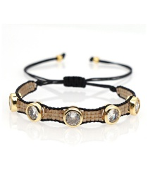 Fashion Light Brown Rice Beads Woven Six-pointed Star Leopard Beaded Bracelet