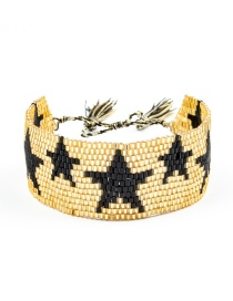 Fashion Weaving-black Five-pointed Star Rivet Multi-layer Rice Bead Braided Five-pointed Star Bracelet