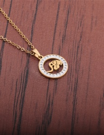 Fashion Gold Color Stainless Steel Animal Inlaid Zircon Elephant Necklace