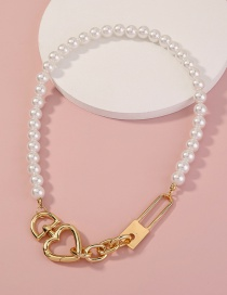 Fashion Golden Pure White Pearl Metal Glossy Lock Necklace
