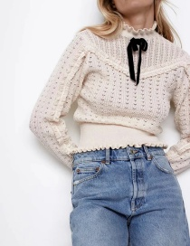 Fashion Beige Bow-knot Sweater