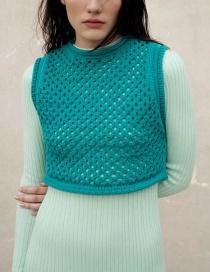 Fashion Blue Mesh Cropped Knit Vest