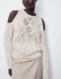 Fashion Off White Hollow Jacquard Knitted Sweater