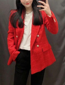 Fashion Red Check Double-breasted Casual Blazer