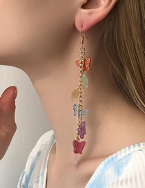Fashion Color Colorful Tassel Butterfly Earrings