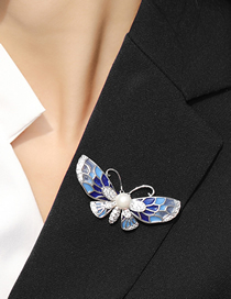 Fashion Silver Color Transparent Copper Zircon Butterfly Brooch