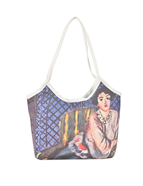 Fashion Four Women Oil Painting One-shoulder Large-capacity Canvas Handbag