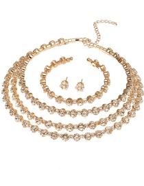 Fashion Gold Color Three-piece Set Of Diamond Earrings Necklaces And Bracelets