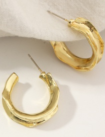 Fashion Gold Color Twisted C-shaped Irregular Earrings