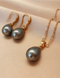 Fashion Temperament Gray Two-piece Necklace And Earrings