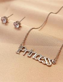 Fashion Silver Color Titanium Steel Letter Snake Bone Necklace Flash Diamond Earrings Two-piece Set