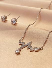 Fashion Silver Color Two-piece Titanium Steel Heartbeat Necklace Flash Diamond Stud Earrings