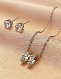 Fashion Silver Color Two-piece Set Of Transfer Beads Necklace Flash Diamond Earrings