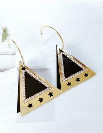 Fashion Black Black Gold Geometric Triangle Tag Earrings