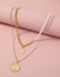 Fashion Gold Color Roman Coin Pearl Multilayer Necklace