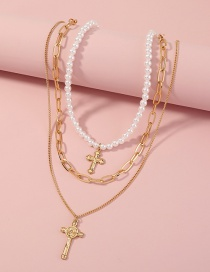 Fashion Gold Color Pearl Cross Multilayer Necklace