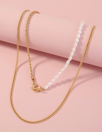 Fashion Gold Color Pearl Ot Buckle Necklace