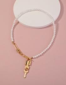 Fashion Gold Color Lock Pearl Necklace