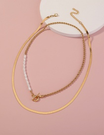 Fashion Gold Color Pearl Ot Buckle Multilayer Necklace