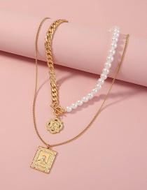 Fashion Gold Color Metallic Geometric Embossed Portrait Multilayer Necklace