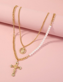Fashion Gold Color Cross And Pearl Portrait Multi-layered Necklace