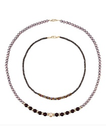 Fashion Color Synthetic Pearl Crystal Double Necklace
