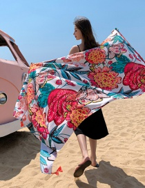 Fashion Blossoming Flowers Shawl Cotton And Linen Sunscreen Silk Scarf