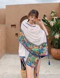 Fashion White Blue Lace Embroidered Fringed Cotton And Linen Silk Scarf