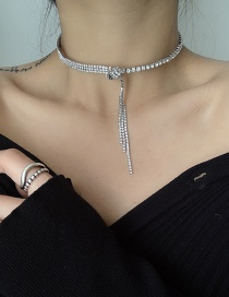 Fashion Silver Color Flash Diamond Knotted Necklace