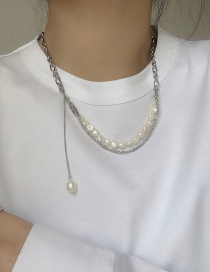 Fashion Silver Color Shaped Pearl Necklace